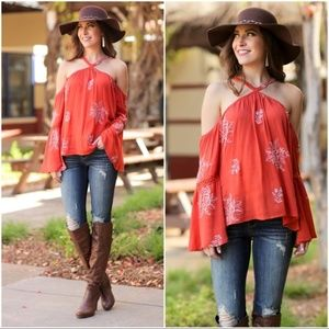 Boho Chic Rust Embroidered Halter Style Tunic